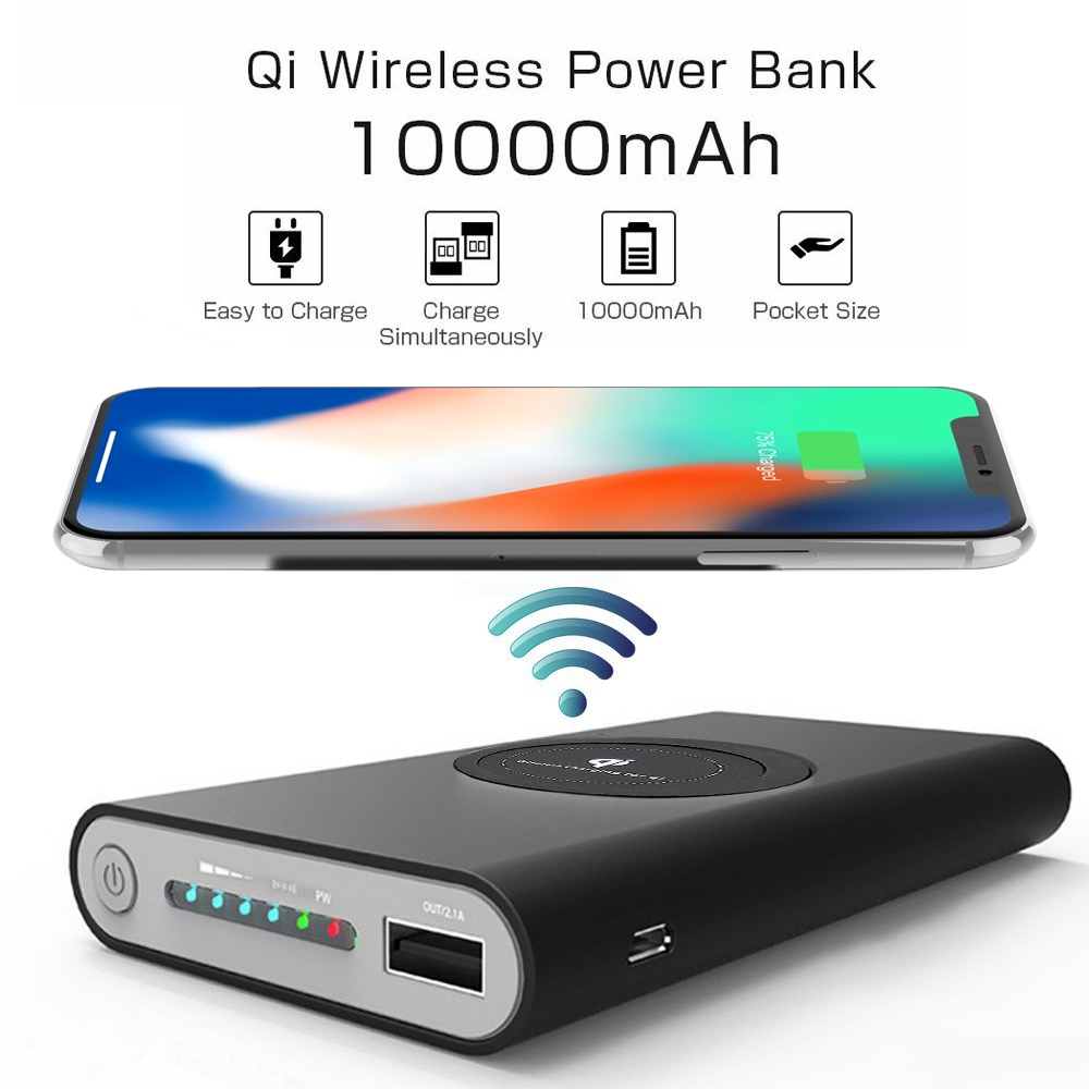 Wholesale Cell Phone Accessories Best Quality And Lowest Price In Usa Power Bank Qi Wireless Charger 10000mah Universal Wcpb Black