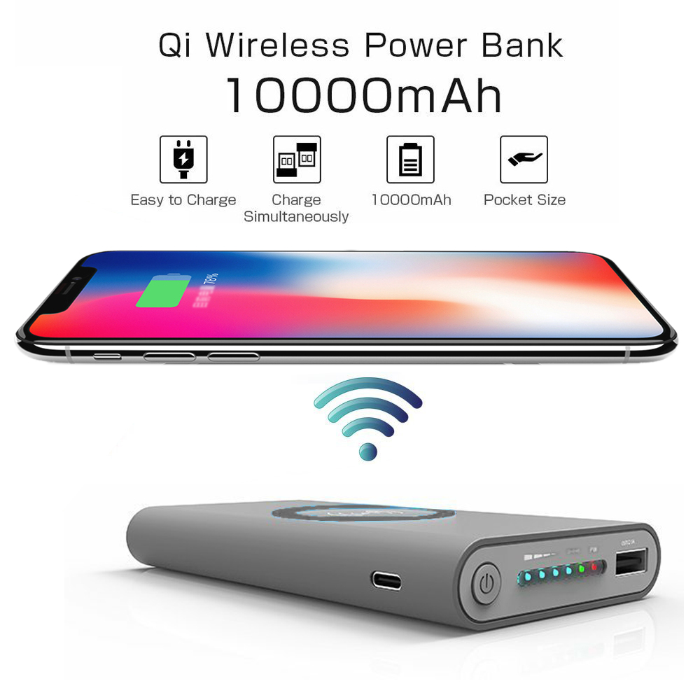 Wholesale Cell Phone Accessories Best Quality And Lowest Price In Usa Power Bank Qi Wireless Charger 10000mah Universal Wcpb Gray